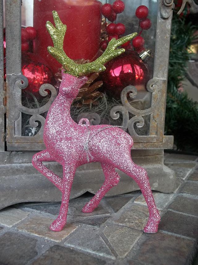 Deck the Halls Holiday Ornament Exchange 2016 tree snowflake reindeer glitter monogram pink green