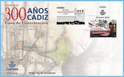 Filatelia - Efemérides. 300 Aniversario Casa de Contratación de Cádiz -  Sobre Primer día de circulación