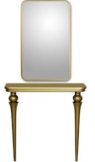 Mueble entrada en color oro para el recibidor