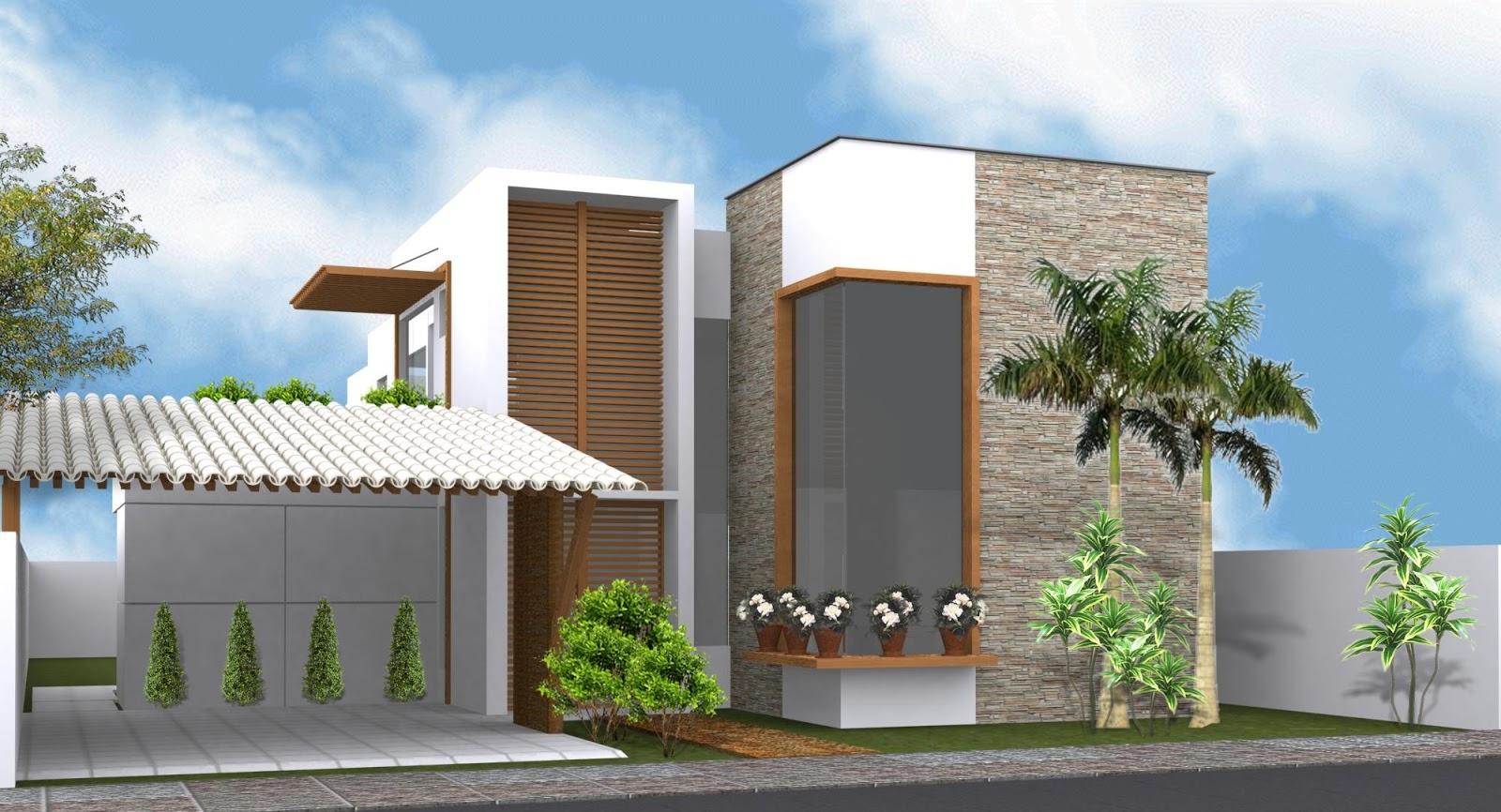 Construindo minha casa clean fachadas de sobrados for Fachadas para residencias