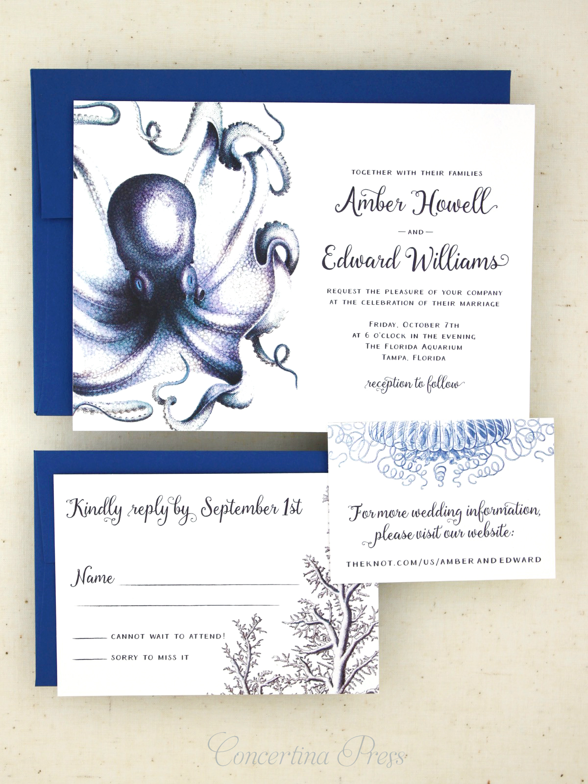 Blue Octopus Wedding Invitation Set - wedding at the aquarium