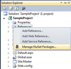 Nuget Package Manager in asp.net
