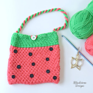 Free Tunisian Crochet Pattern for Watermelon Print Bag