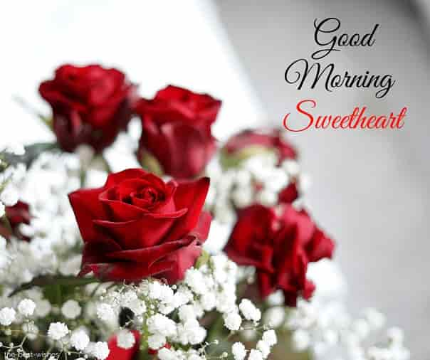 good morning sweetheart with flowers