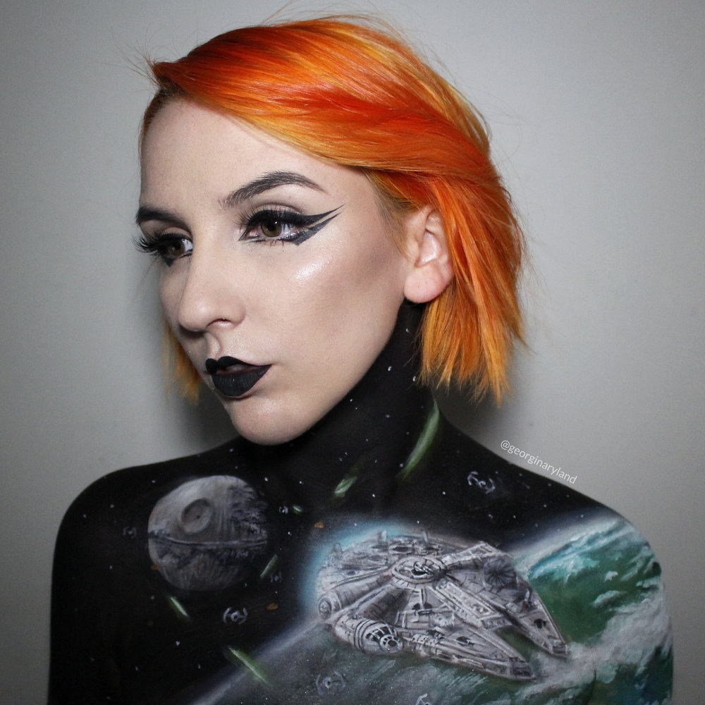 02-Star-Wars-Millennium-Falcon-Georgina-Ryland-Fantasy-and-Movie-Makeup-Paintings-on-your-body-www-designstack-co