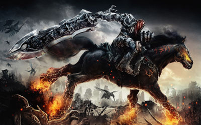 Darksiders - War sur son Cheval de Feu - Fond d'Écran en Full HD 1080p