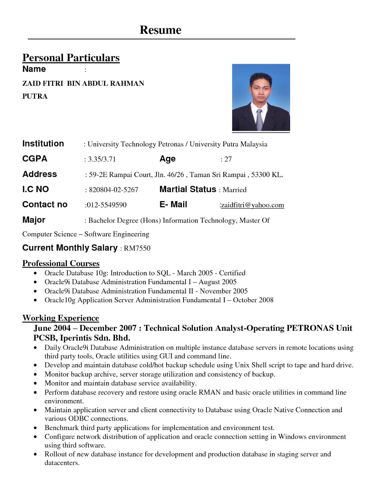 format resume yang lengkap contoh format cv contoh volumetrics