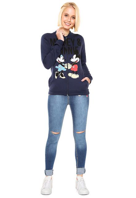 Vendido e entregue por Kanui Jaqueta Bomber Cativa Mickey e Minnie Azul Marinho