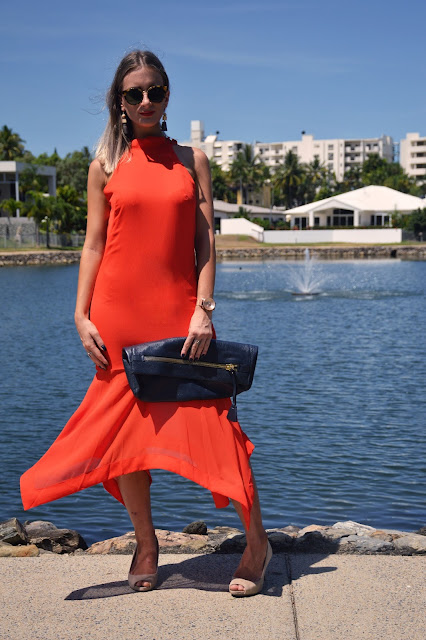 how to style orange dress street style outfit idea