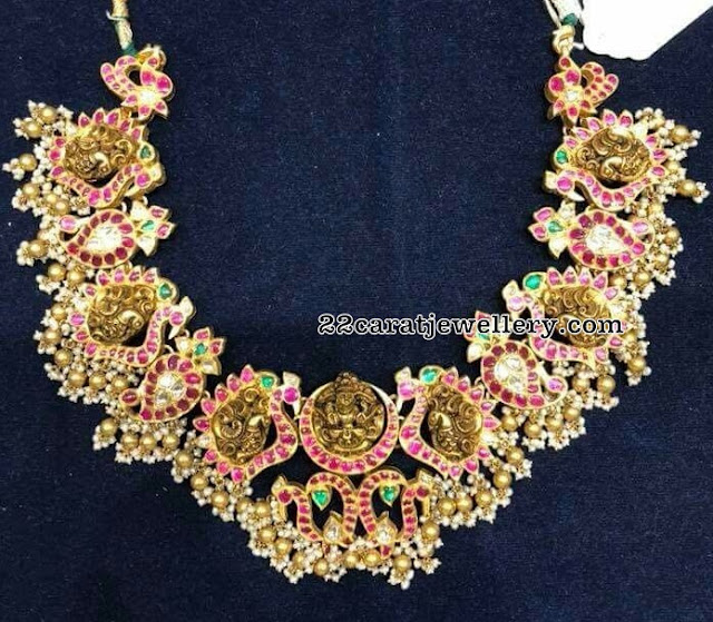 Peacock Mango Necklace with Gold Muvvalu