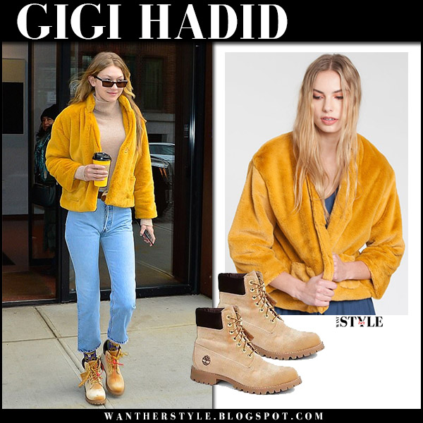 Gigi Hadid in yellow fur jacket dra selena, jeans and tan suede ankle boots timberland x off-white model street style december 15