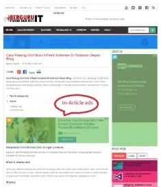 Contoh penempatan iklan In Article ads