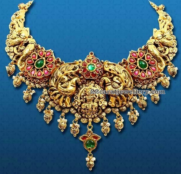Peacock Nakshi Necklace with Kundan