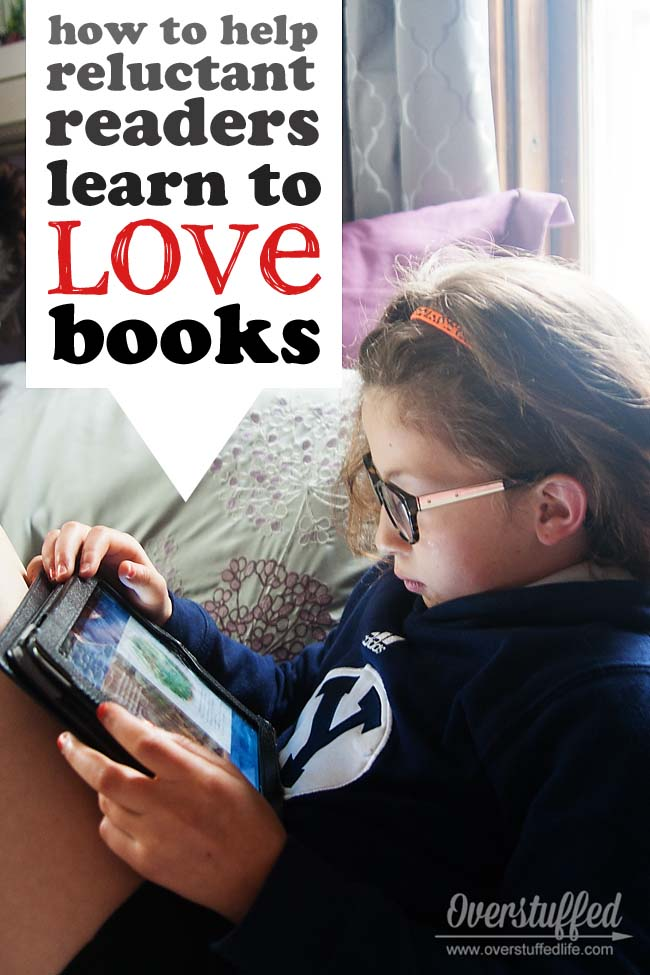 Does your child have so much energy that it's hard to sit still to read a book? Here are some tips on how to help focus that energy and learn to love reading! #overstuffedlife