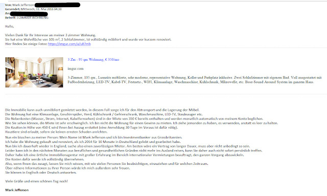 Mietbetrug - Mail von Mark Jefferson - Kaution und Vorauszahlung