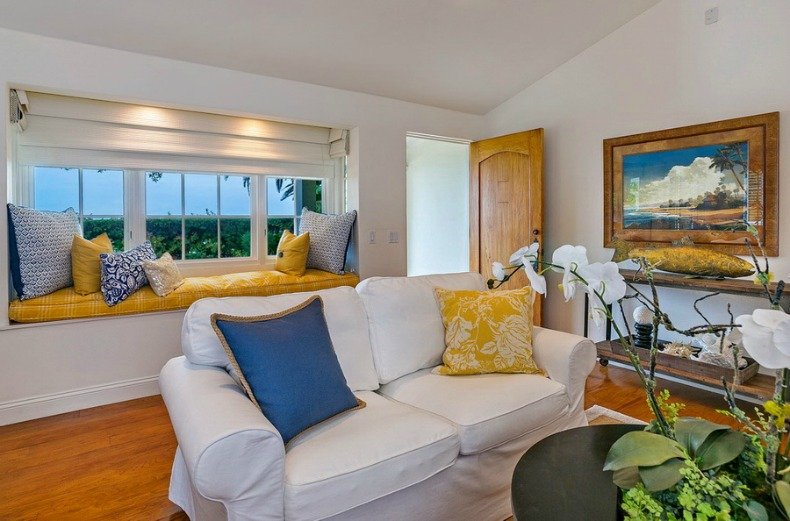 bright beach cottage family room