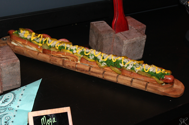 two foot long coney hot dog