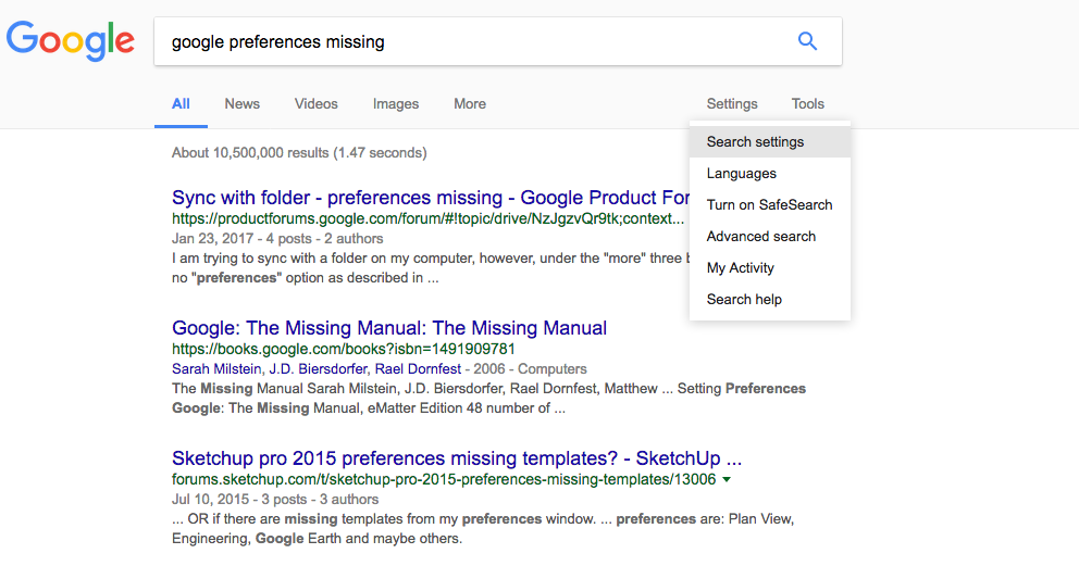 how to change search preferences google