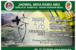 JADWAL MISA RABU ABU 2018