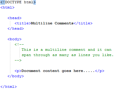 HTML Multiline Comments