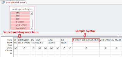 Sample syntax for the grade list query
