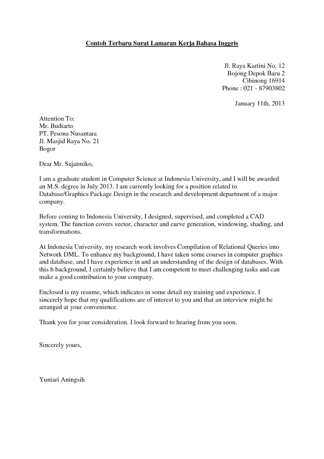 Ben Jobs Contoh Surat Lamaran Kerja Bahasa Inggris Fresh Graduate