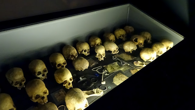 Skulls of slaughtered people in Rwanda
