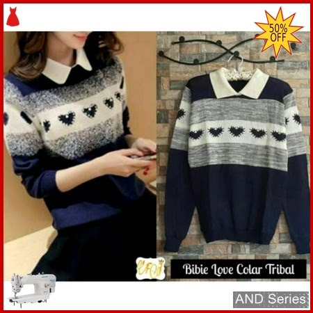 AND146 Sweater Wanita Lucu Biebie Love Colar BMGShop