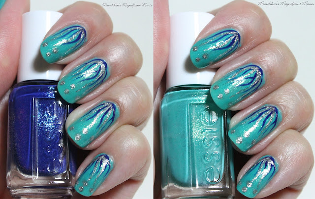 Waterfall/ Seascape Nail Design, Essie Viva Antigua and Loot the Booty