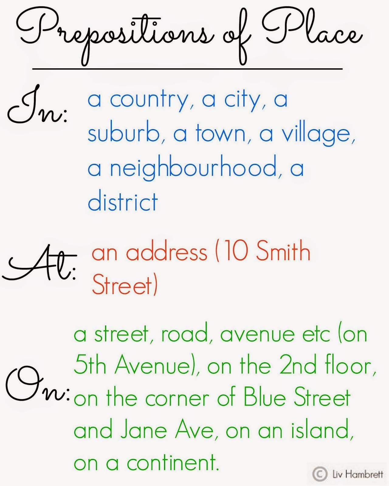 Prepositions Of Place Escoleta English