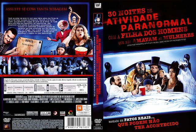 Capa DVD 30 NOITES DE ATIVIDADE PARANORMAL COM A FILHA DOS HOMENS QUE NÃO AMAVAM AS MULHERES