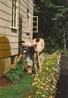 Sophie & Wally Dixon working in their garden. Thompson Ave. Roselle, NJ. 1953