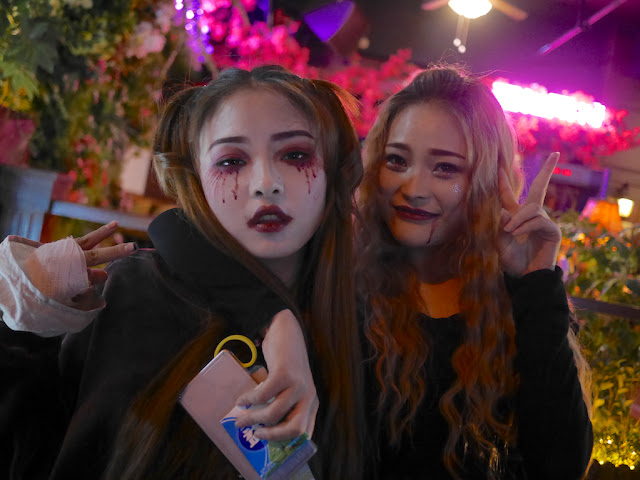 two young women dressed up for Halloween in Changsha