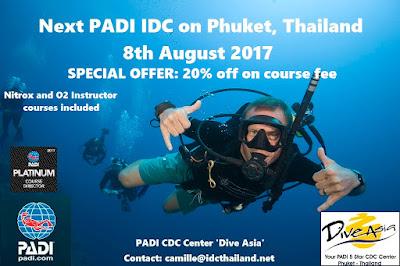 Next PADI IDC on Phuket starts 8th August 2017
