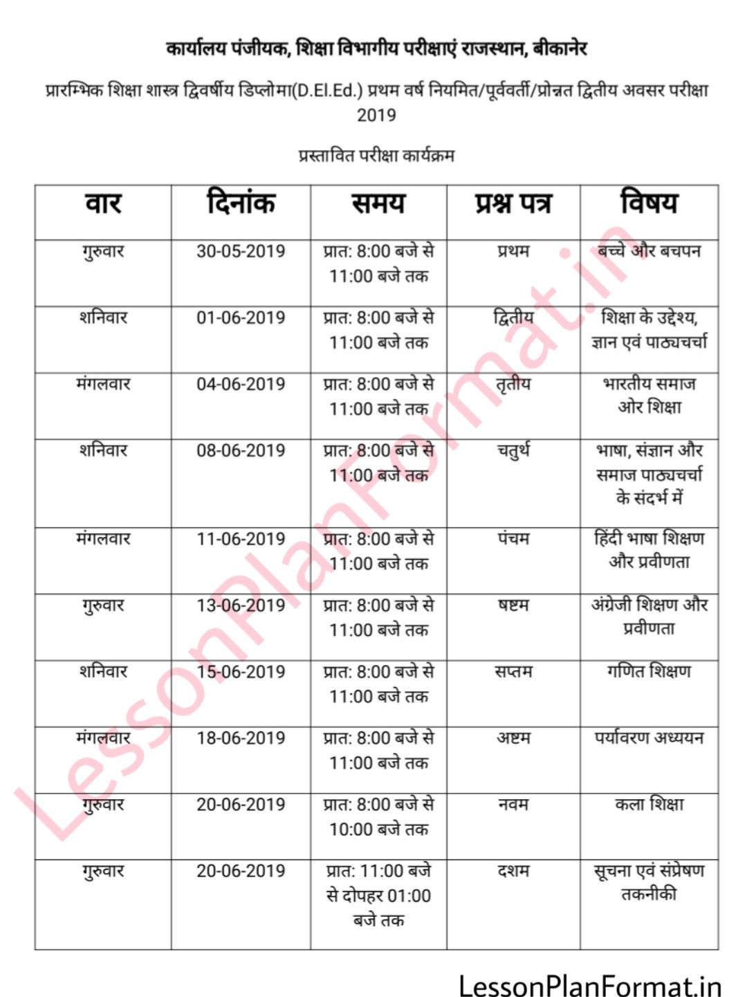 D El Ed First Year Time Table 2019
