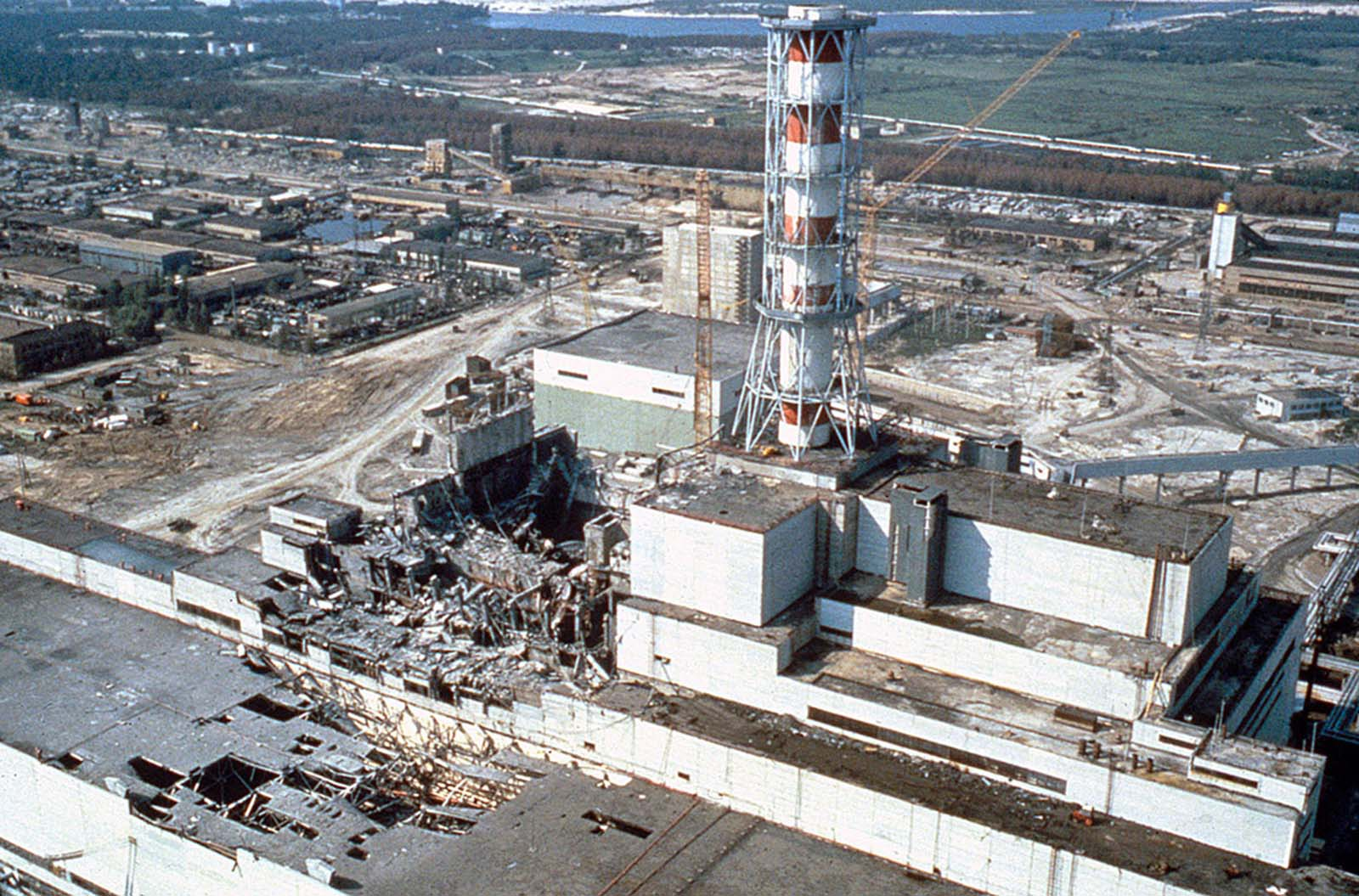 An aerial view of the damaged Chernobyl nuclear-power plant, photographed a few weeks after the disaster, in May 1986.