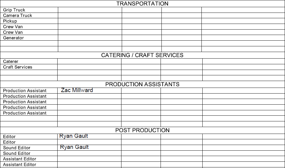 Unit22cameratechniques Crew Contact List
