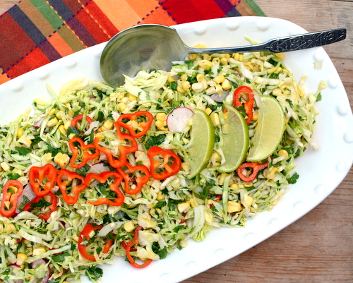 Green Cabbage Salad with Fresh Lime Vinaigrette, another fresh, healthy salad ♥ A Veggie Venture. Vegan. Gluten Free. Great for Meal Prep. Weight Watchers Friendly.