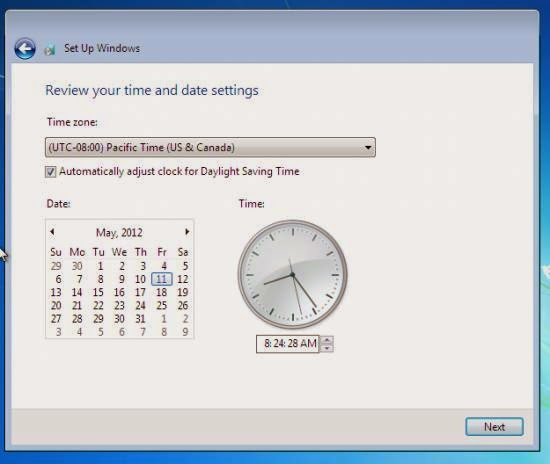 Instalare Windows 7 - setare time zone, ora si ceas