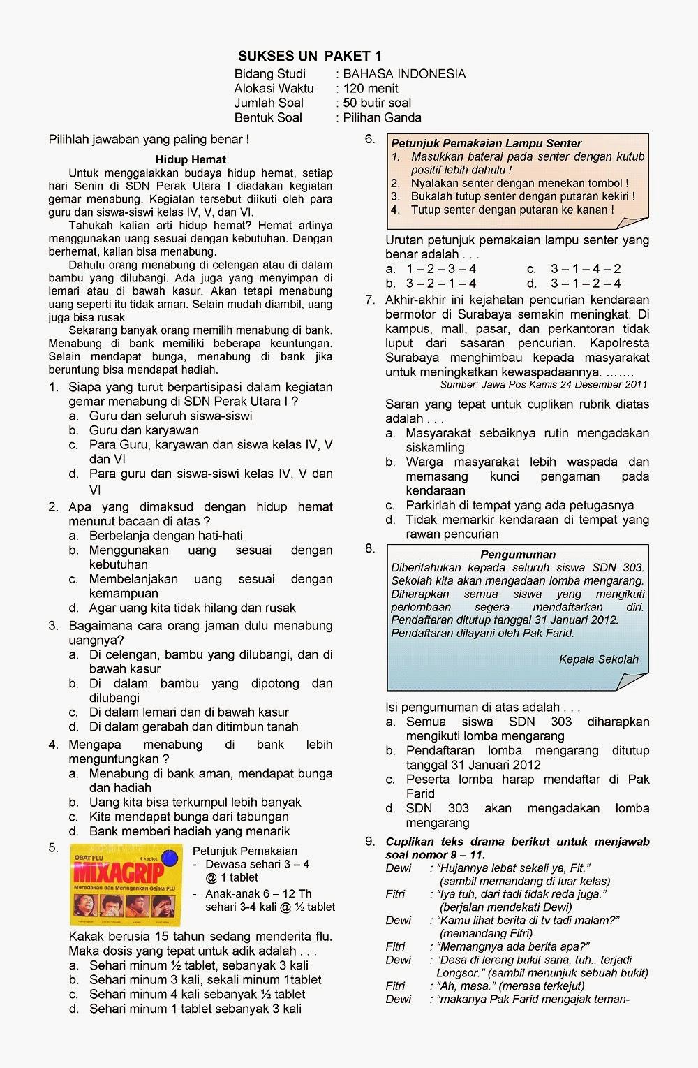 Kumpulan Soal Sd Kunci Dan Soal Un Bahasa Indonesia Kelas 6 Sd Ta 2013 2014