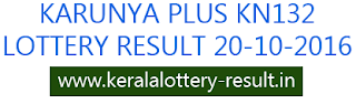 Kerala lottery result 20-10-2016, Karunya Plus KN 132, todays lottery result Karunya Plus KN132