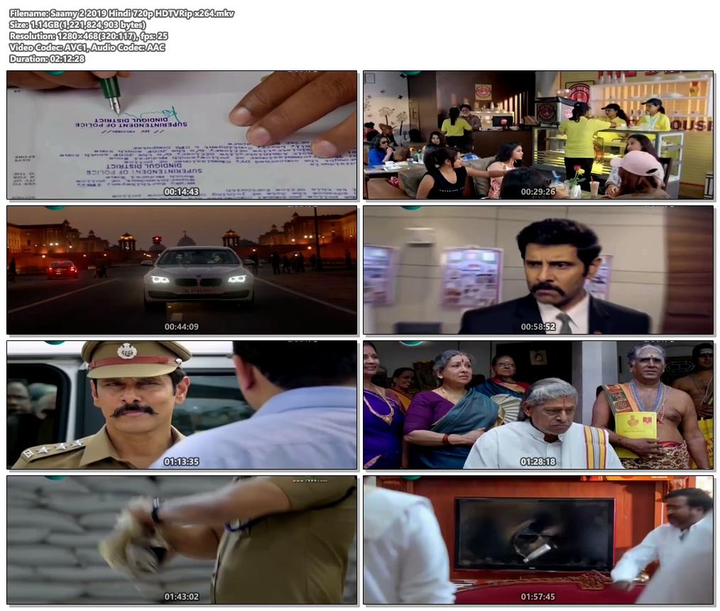 Saamy 2 2019 Hindi 720p HDTVRip x264   480p 300MB   100MB HEVC Screenshot