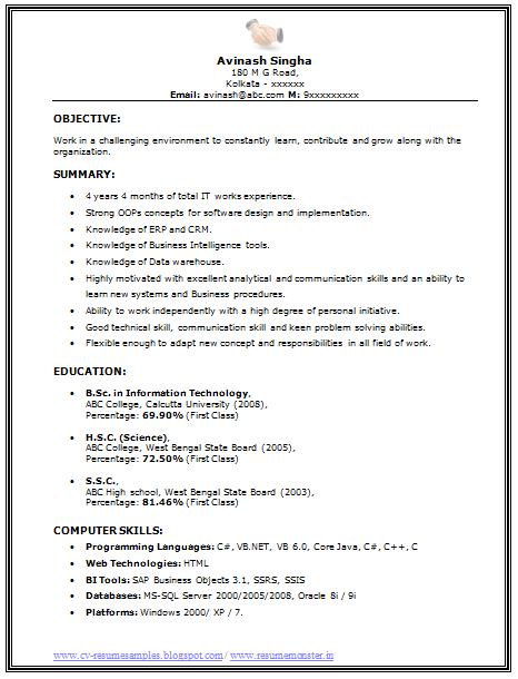 bsc chemistry sample resume