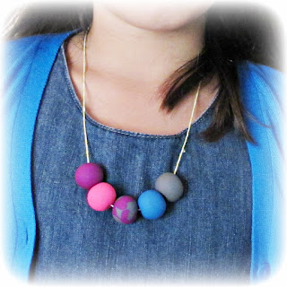 image polymer clay bead necklace gumball necklace sculpey fimo tutorial
