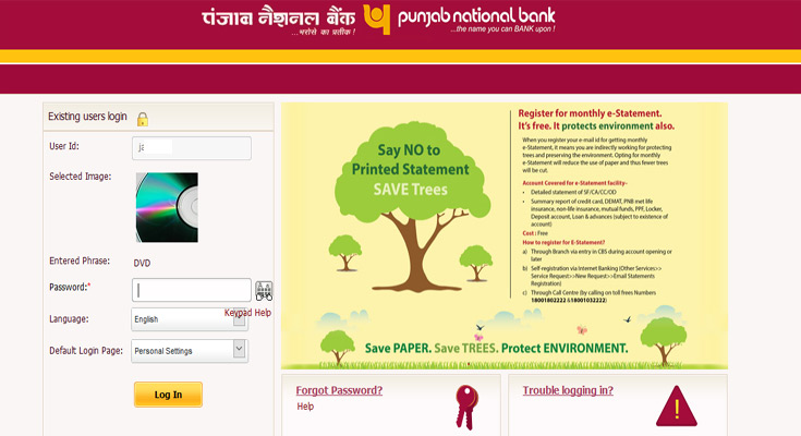 pnb net banking debit card pin change online