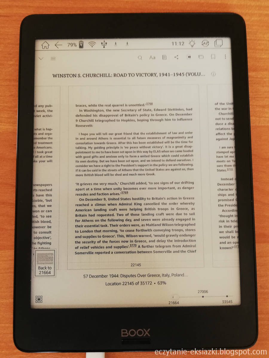 Tryb kartkowania w aplikacji Kindle na Onyx Boox Nova