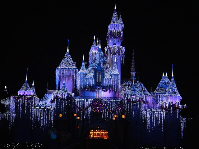 Sleeping Beauty Castle or Snow White's Castle at Night at Disneyland California