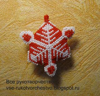 Снежинка из бисера пример