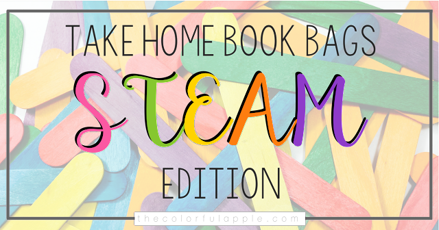 STEAM Take Home Book Bags are a uniquely creative way for students to bring literacy and engineering home to share with their families.  It incorporates reading, writing, math, science, technology, engineering and art!