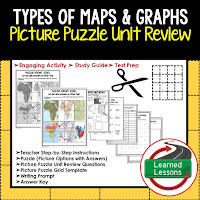 Types of Maps and Graphs, World Geography Picture Puzzle BUNDLE, Test Prep, Unit Review, Study Guide